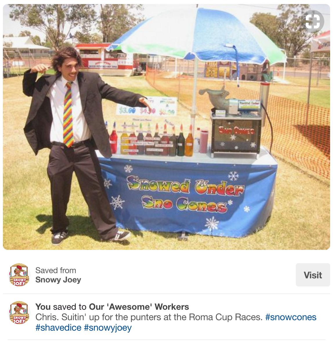 Screenshot showing Chris Von Wilpert back in his ice cream selling days
