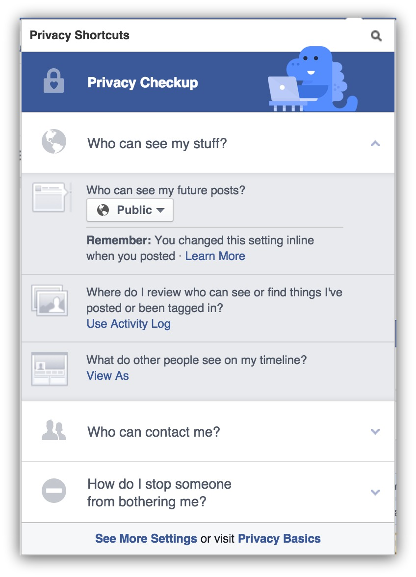 Screenshot of the privacy settings page on facebook