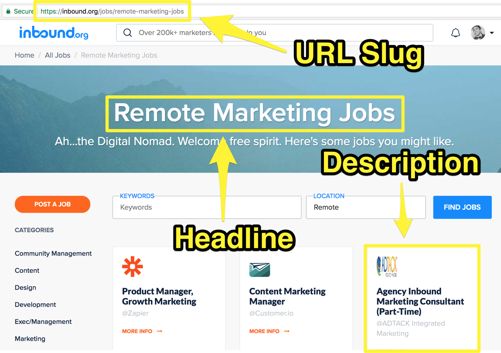 Screenshot showing an inbound.org page for remote marketing jobs