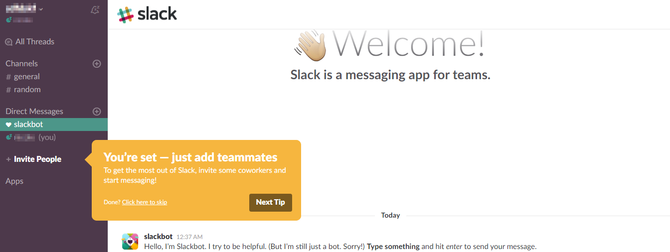 Screenshot showing the welcome page after signing up for Slack