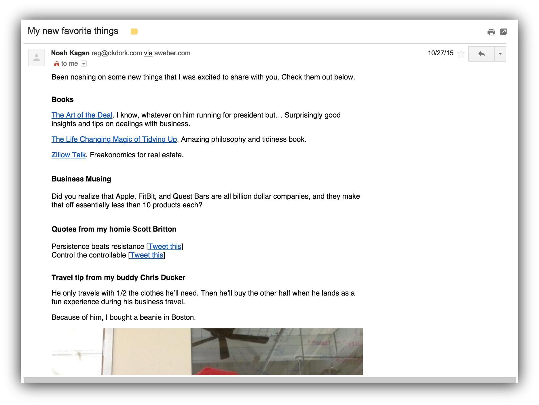 Screenshot of an email sent by Noah Kagan