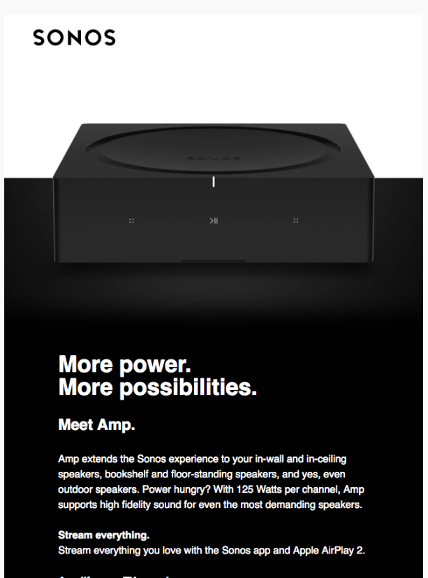Screenshot of Sonos email