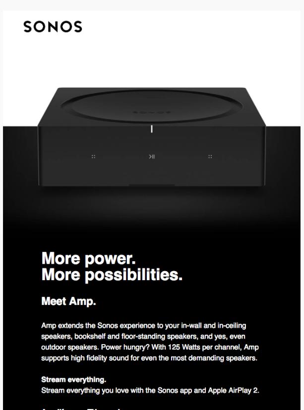 Screenshot of Sonos email