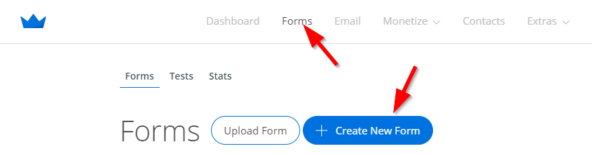 Squeeze Page: Screenshot of steps to creating welcome mat form