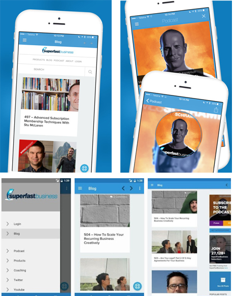 Screenshot showing different pages of a content related app