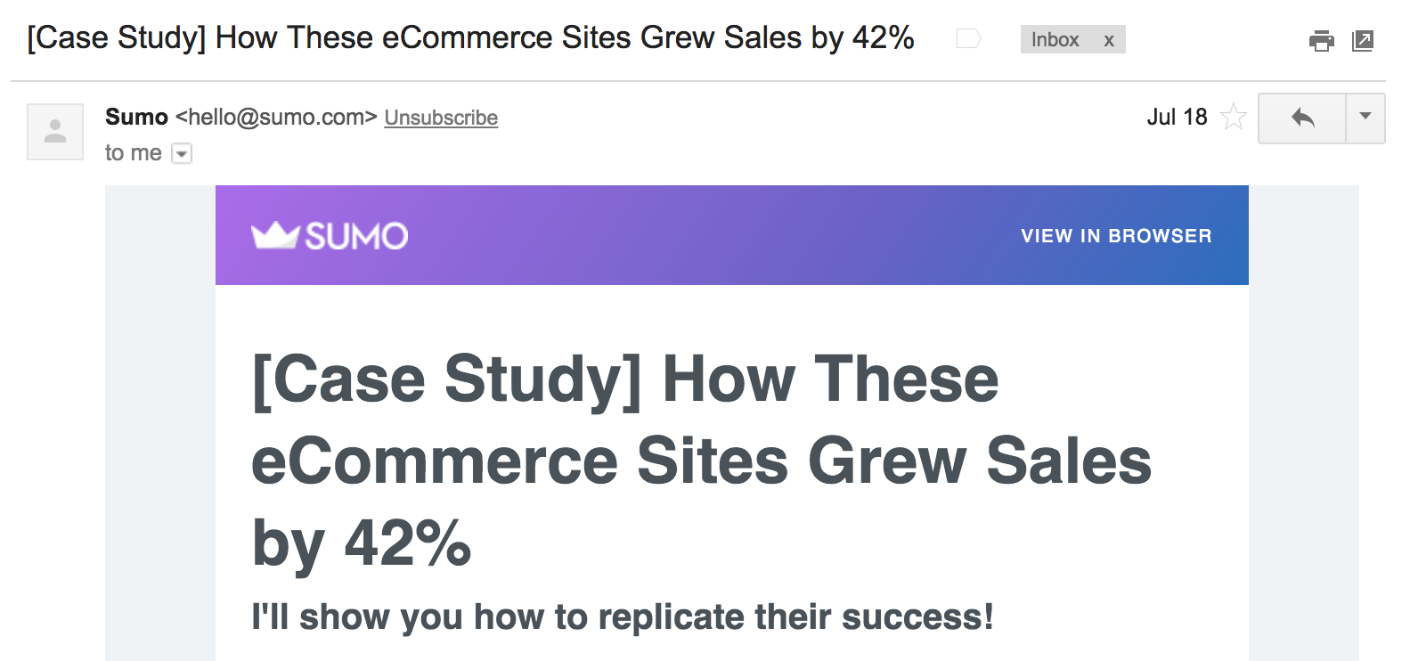 Best Email Subject Lines: Screenshot of case study email by Sumo