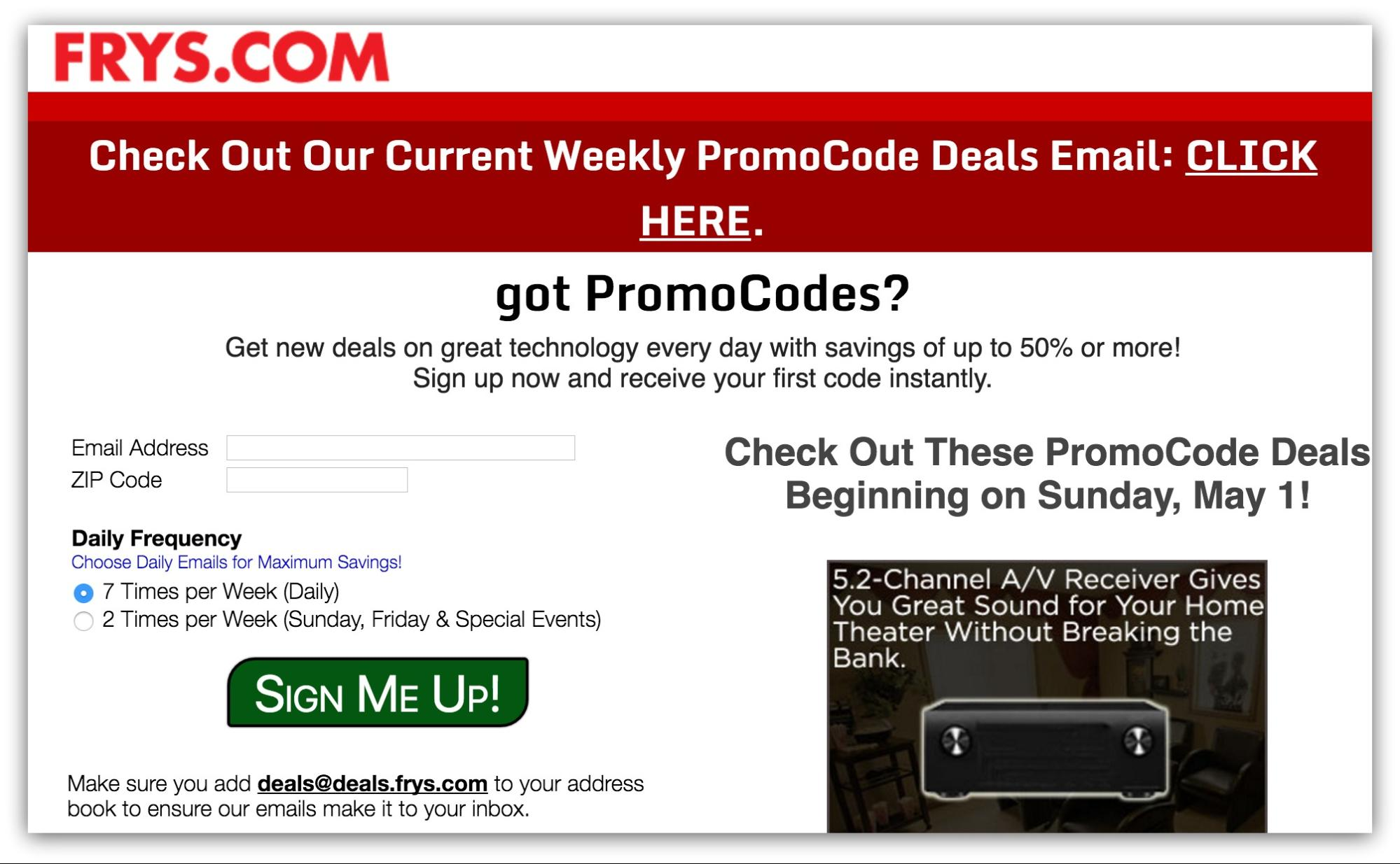 Screenshot showing an email subscription box on frys.com