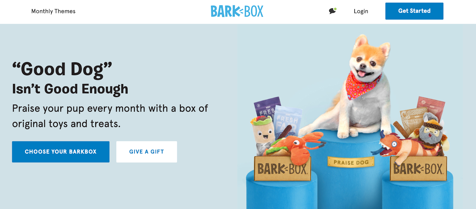 Screenshot of Barkbox website