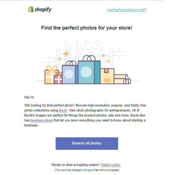 Screenshot showing an email CTA for shopify
