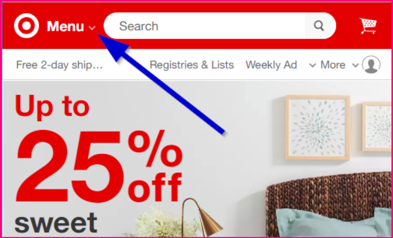 Screenshot showing how Target uses an arrow-click menu looks like on their website