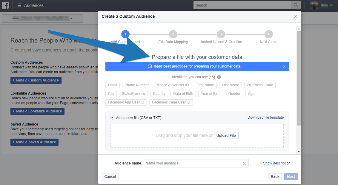 Screenshot showing facebook ads manager