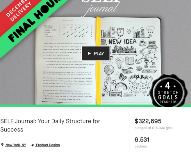 Screenshot of SELF Journal Kickstarter campaign results