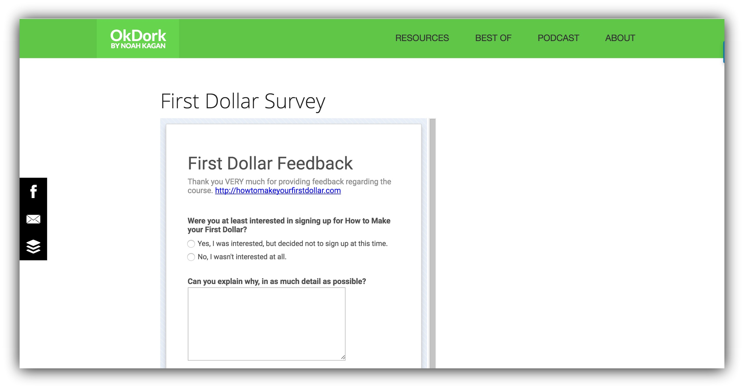 ok dork first dollar survey