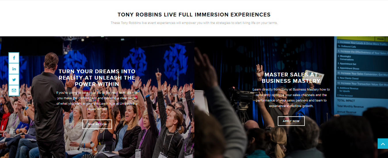 Screenshot of CTAs for Tony Robbins events