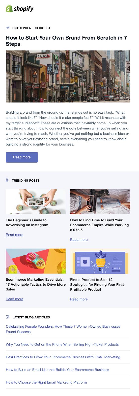 Screenshot of blog update email from Shopify Entrepreneur Digest