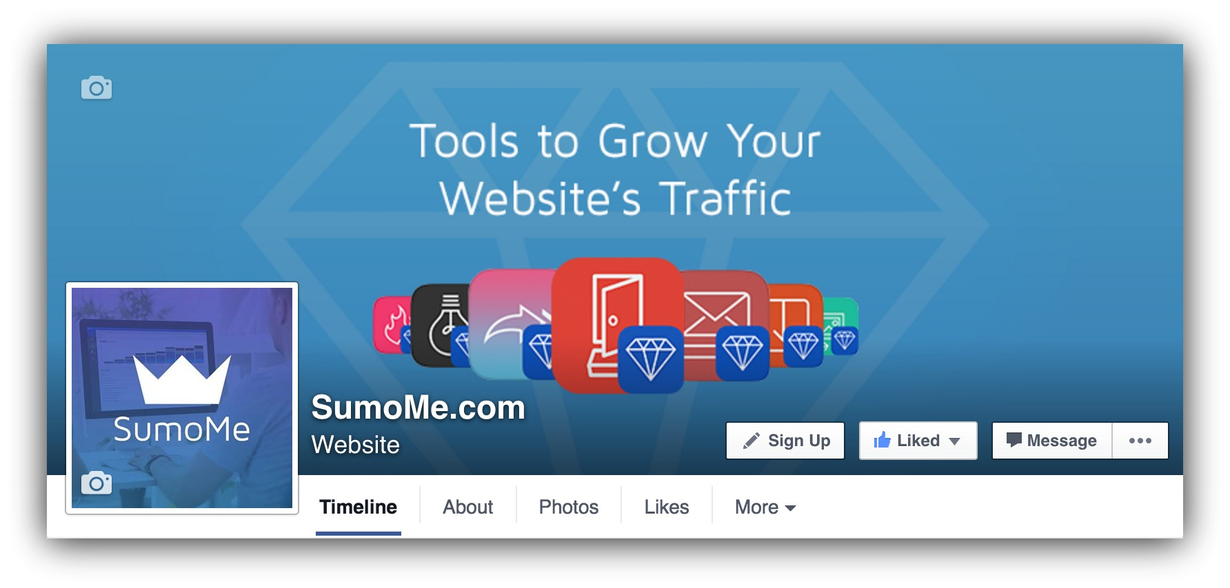 Screenshot showing the cover photo of Sumo