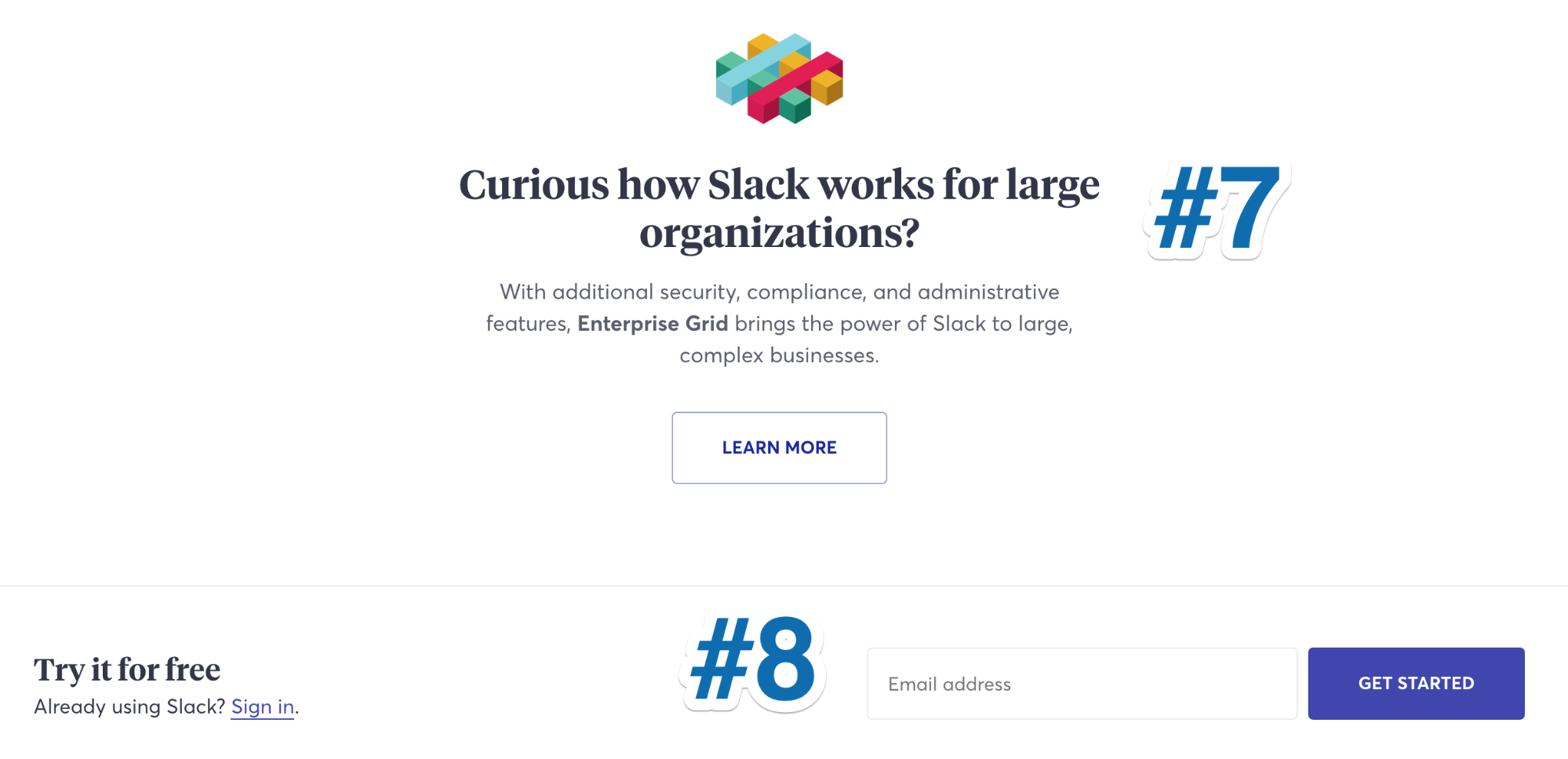 Screenshot of promotional copy on Slack