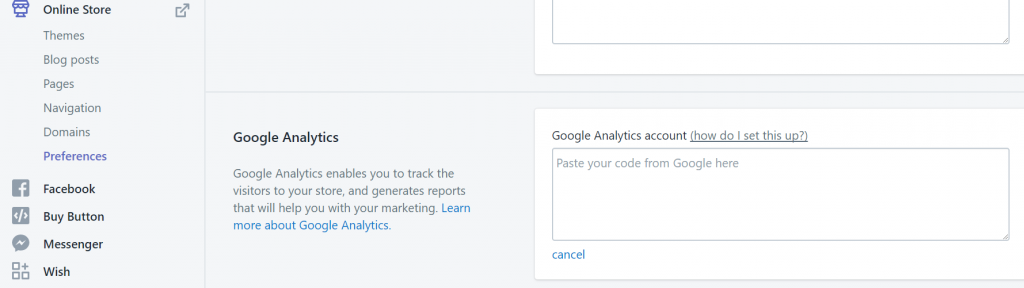 Screenshot of steps to add Google Analytics code in Shopify