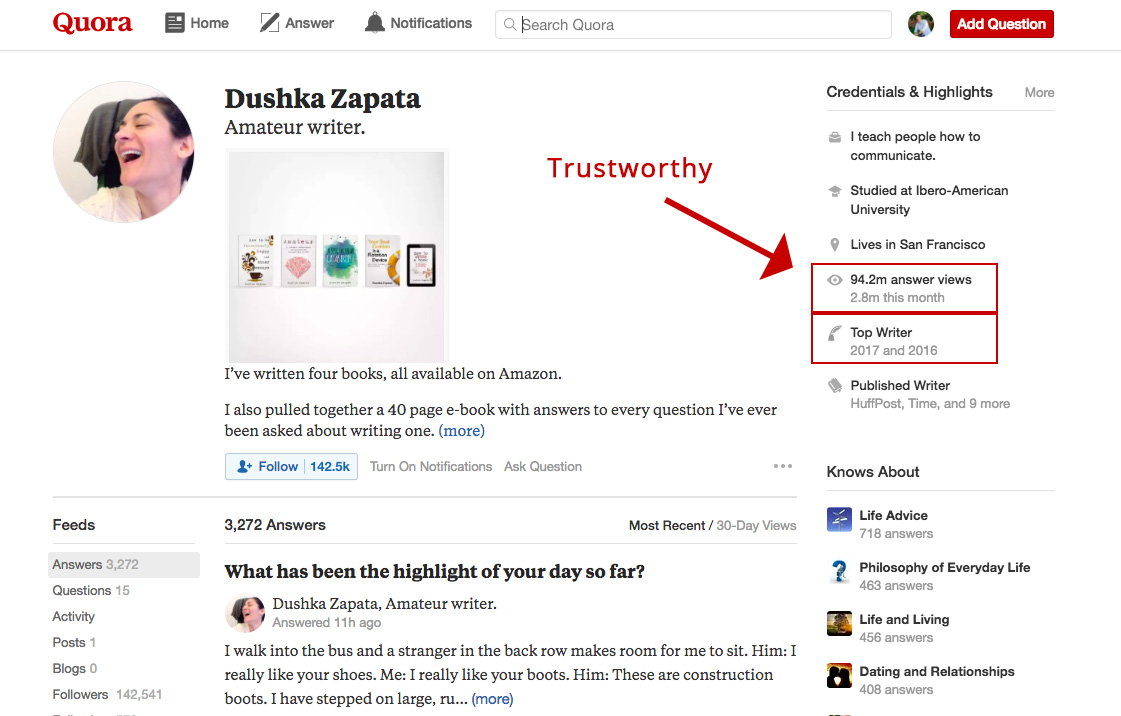 Screenshot showing a page on quora