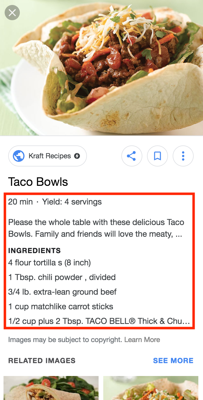 Screenshot showing a recipe on Google