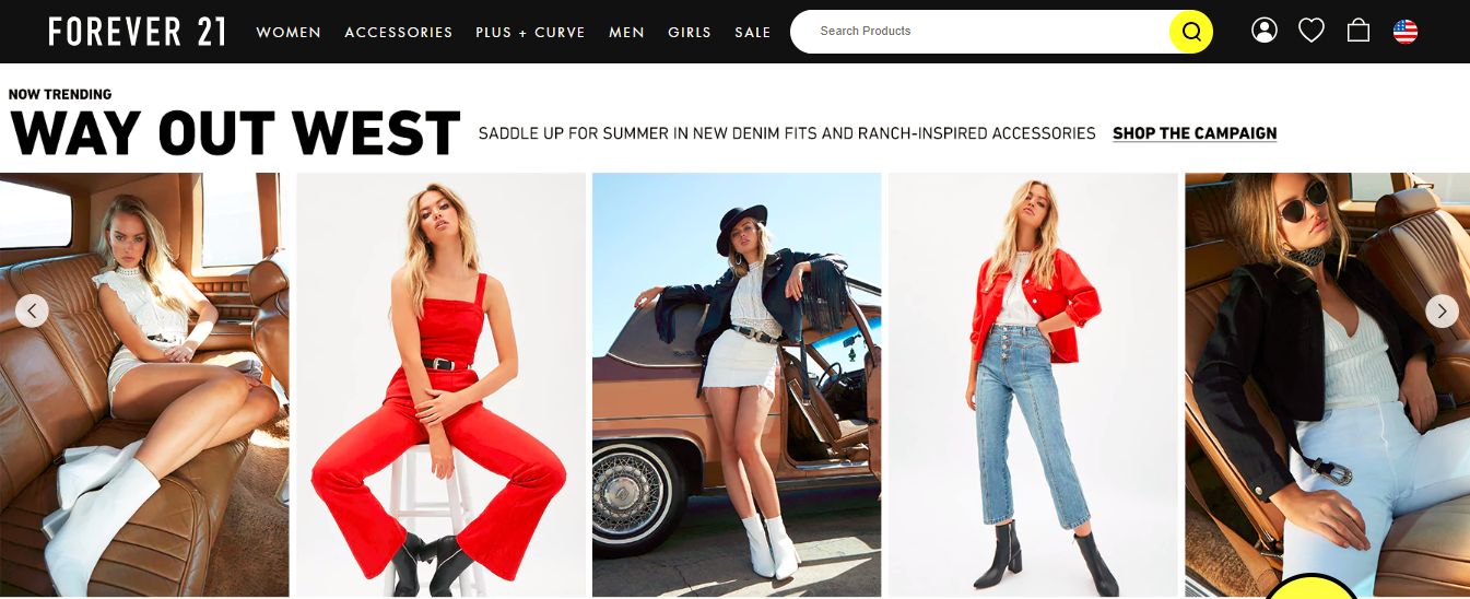Screenshot showing a page on forever 21