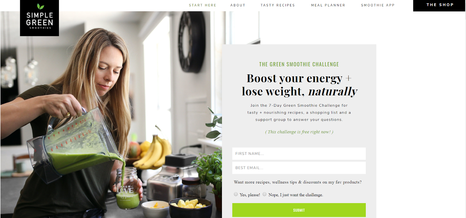 How To Build An Email List: Screenshot of Simple Green Smoothie