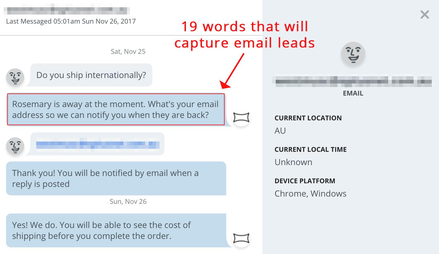 Screenshot showing a live chat conversation