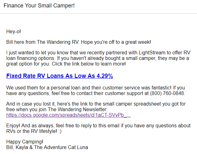 Screenshot of partner product email by The Wandering RV