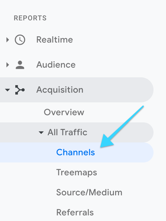 "Google Analytics: ""Channels"" click"
