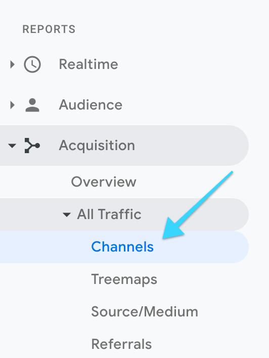 "Google Analytics: ""Channels"" click"