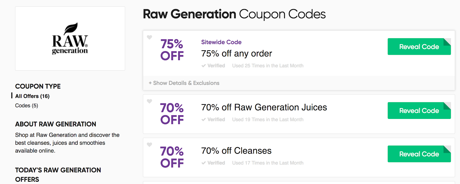 Screenshot showing coupon codes