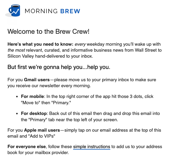 Screenshot of welcome email by Morning Brew