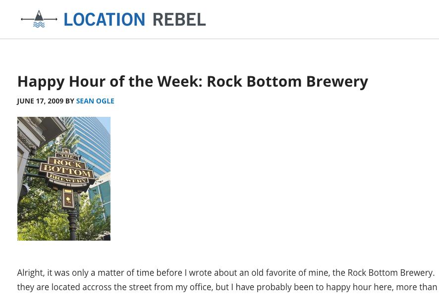 Location Rebel - Sean Ogle happy hour