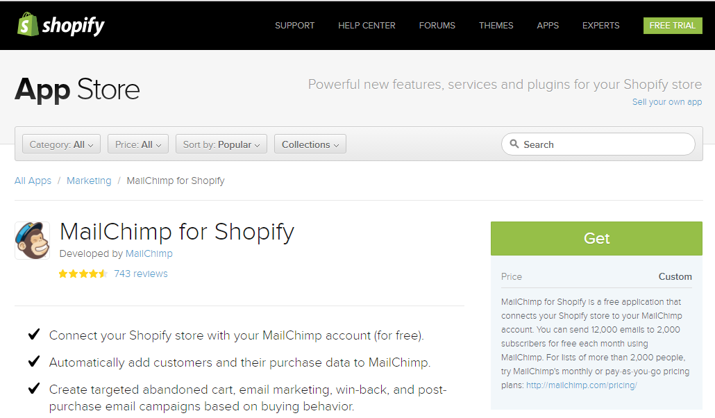Screenshot showing Mailchimp on the Shopify App Store