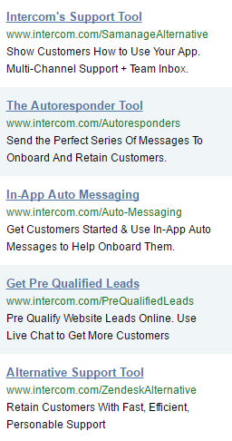 Screenshot showing ads by intercom