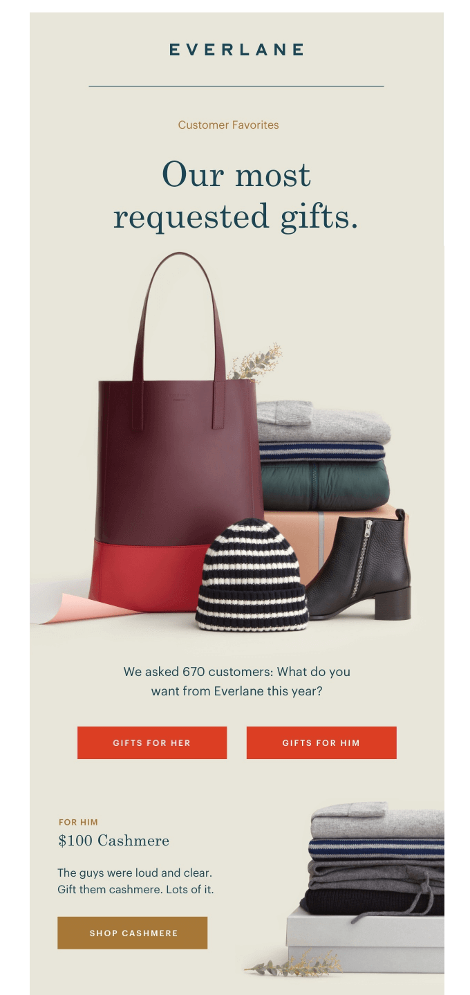 Screenshot showing an email by Everlane