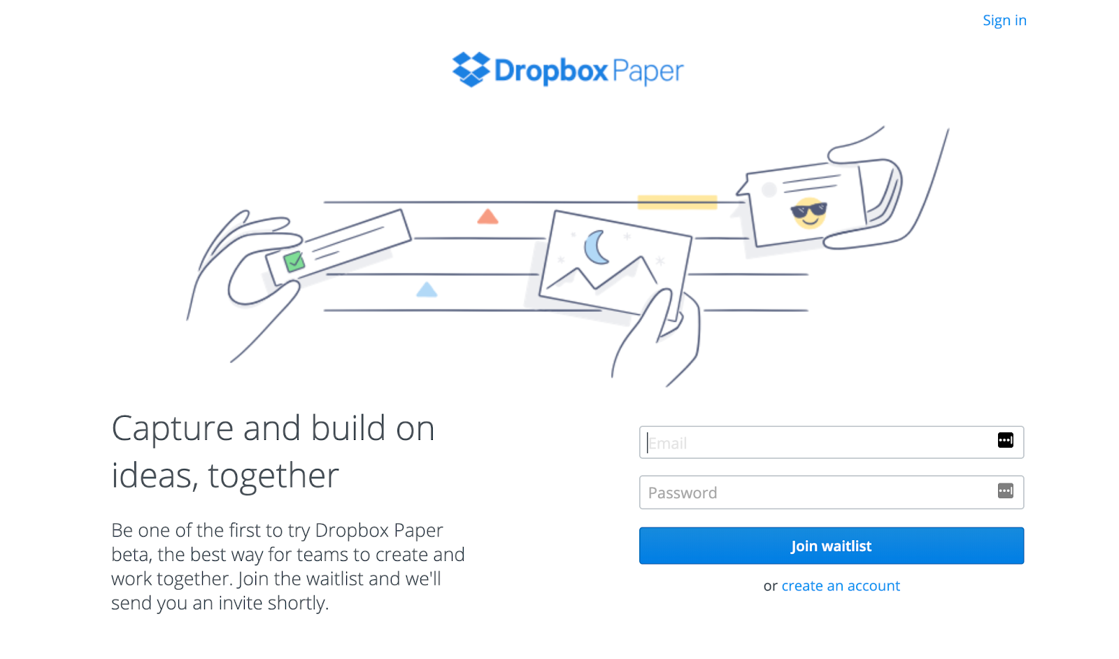 Coming Soon Page: Screenshot of Dropbox Paper coming soon page