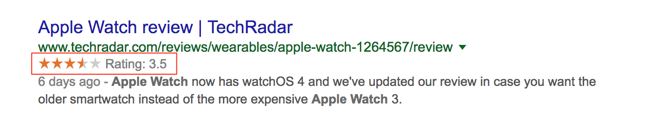 Screenshot showing a rating for the Apple Watch on Google