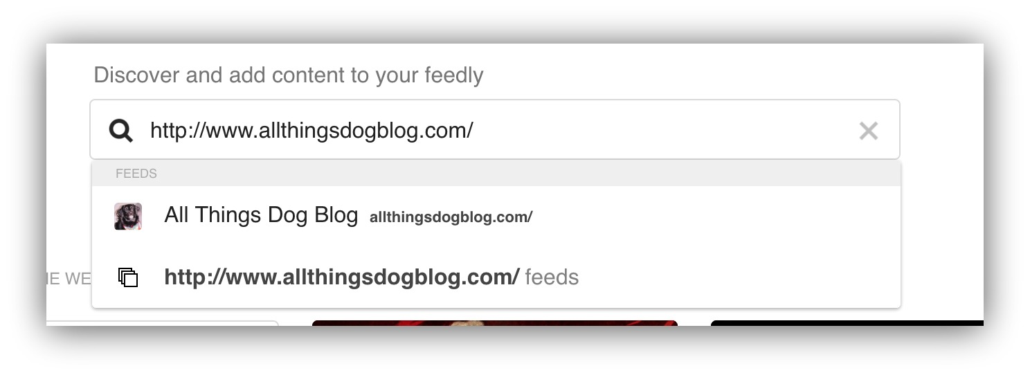 add content to your feedly