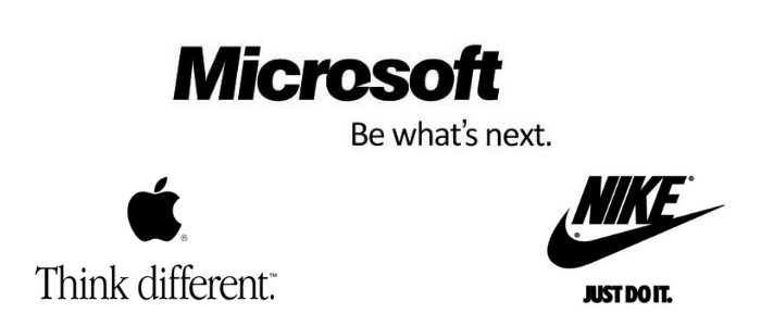 Screenshot showing the taglines of Apple, Microsoft, and Nike