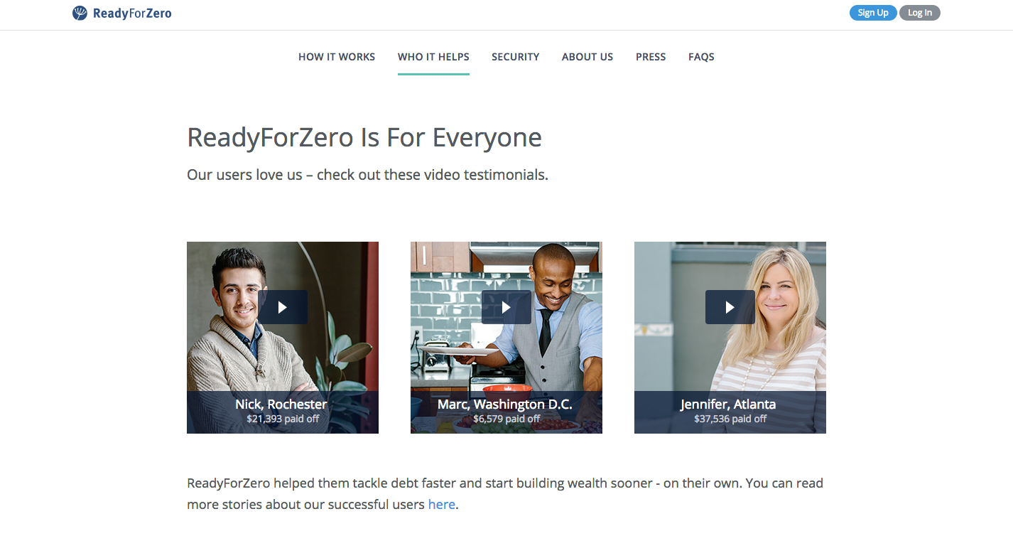 Readyforzero using testimonials on their website to build trust