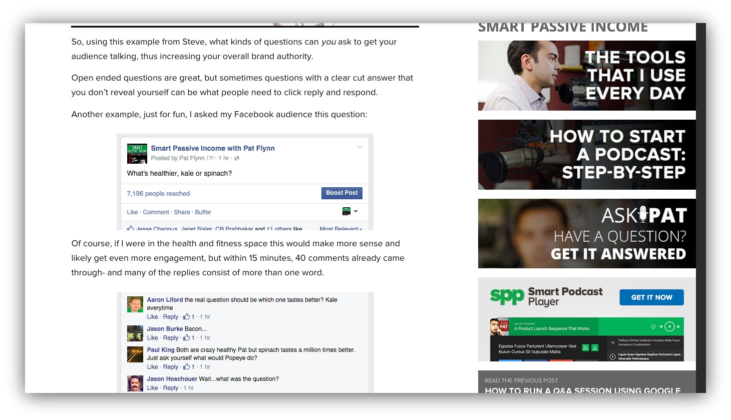Screenshot of a blog post showing engagement on facebook