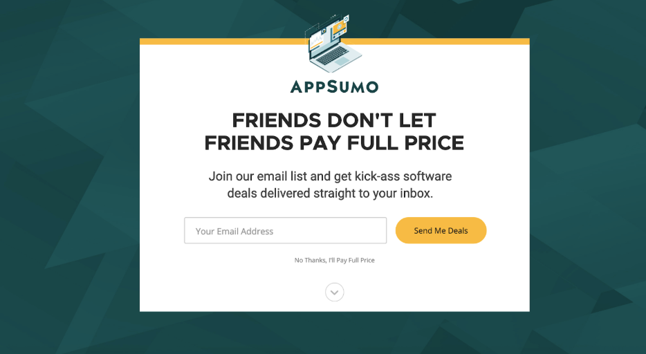 Screenshot showing Appsumo Welcome Mat