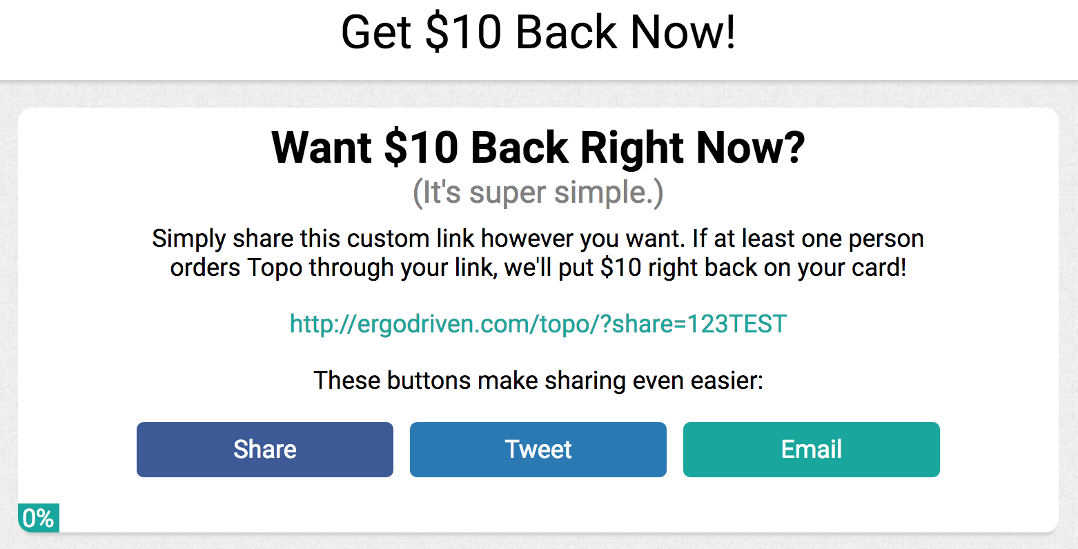 Screenshot of a cashback offer