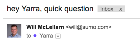 Cold Email Templates: Example of quick question headline