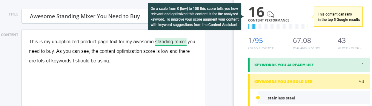 Screenshot of steps to find exact keywords Google is looking for to rank a page using CognitiveSEO