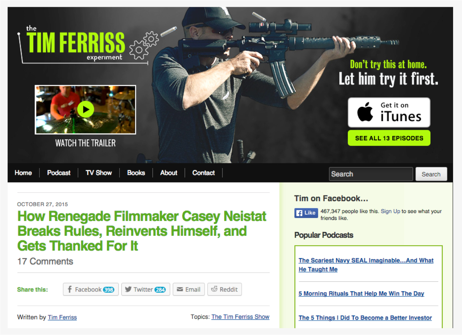 Tim Ferriss Homepage