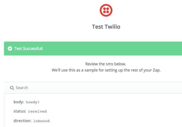 Screenshot showing the test successful page on Twilio