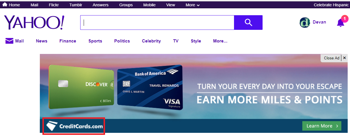 Screenshot of an ad on Yahoo.com