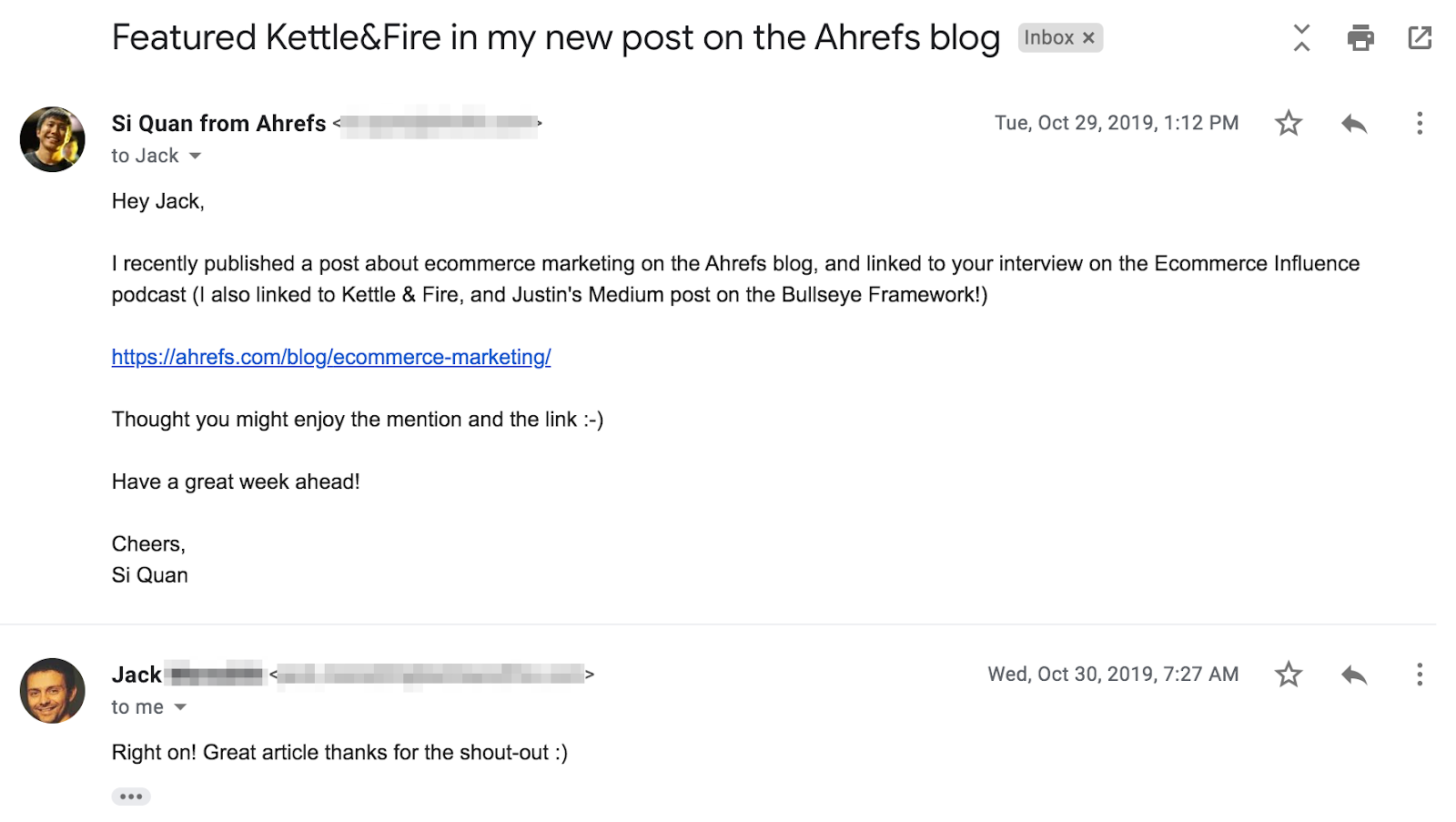 outreach email between Jack and Si Quan(Ahrefs)